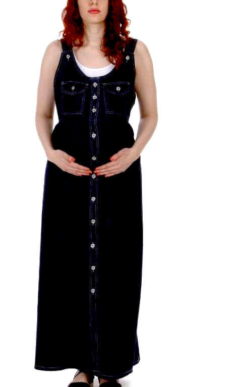 Button  Front Sleevless Maxi Denim Maternity Dress