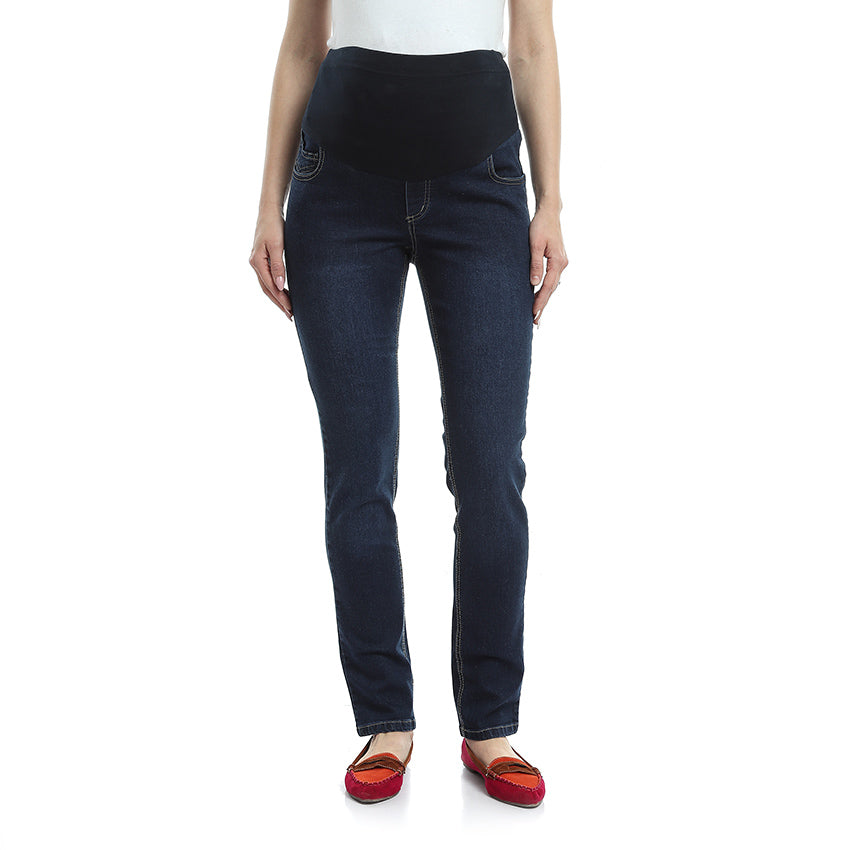 Mid-Wash Straight Leg Maternity Jeans
