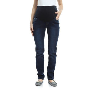 Stretch Mid-Wash Straight Leg Maternity Jeans