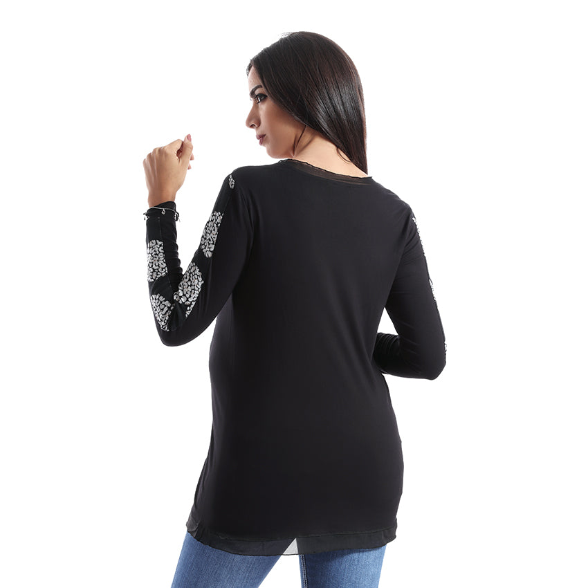 Patterned Long Sleeves Maternity Top