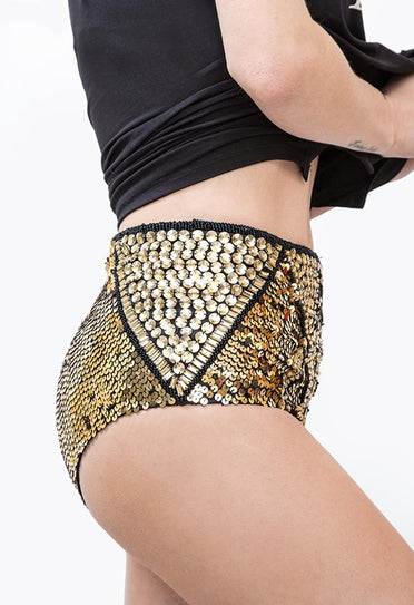 Hot Pant Bordada Zínia - Dourado Hot Pant Joulik