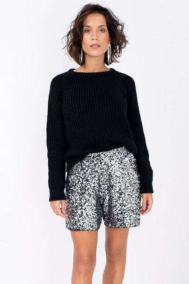 Shorts Bordado Luna - Prata com Grafite Short Joulik