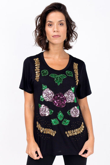 T-shirt Bordada Flores New - Preto T-Shirt Joulik