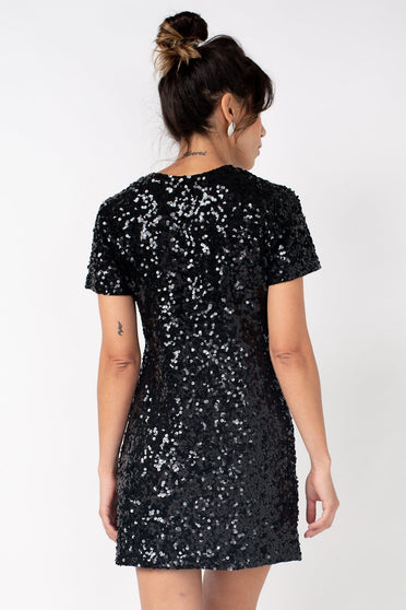 T-shirt Dress Bordado Luna - Preto Vestido Joulik