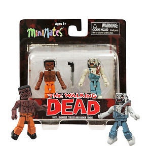 Minimates The Walking Dead Battle Damage Tyreese and Farmer Zombie 2-Pack