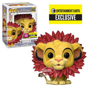 The Lion King Simba Leaf Mane Flocked Pop! Vinyl Figure #302 - Entertainment Earth Exclusive