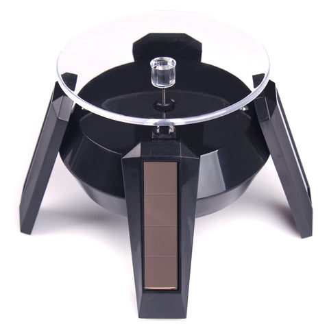 Solar Power 360 Rotating Display Stand Turn Table BLACK