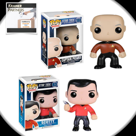 Funko Pop! Star Trek SET of 2: TNG PICARD & TOS SCOTTY Vinyl Figures
