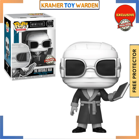 Universal Monsters - The Invisible Man Black & White  Pop! Vinyl Figure Exclusive # 608