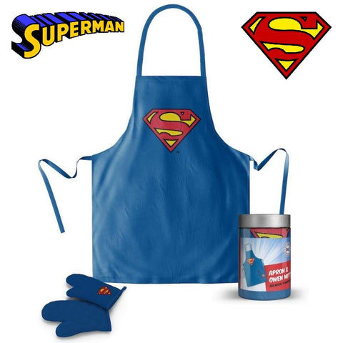 DC Comics Superman Apron & Glove Set with Glass Jar