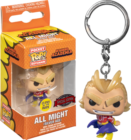 My Hero Academia - All Might Silver Age Glow in the Dark Pocket Pop! Vinyl Keychain Exclusive