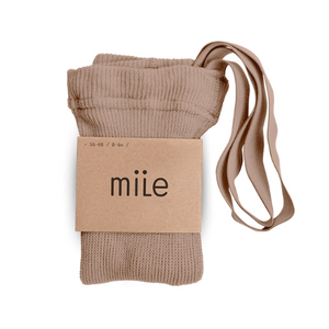 MILE SK tights with braces brown beige - Pulu