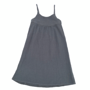 LONG LIVE THE QUEEN crinkle summer dress navy