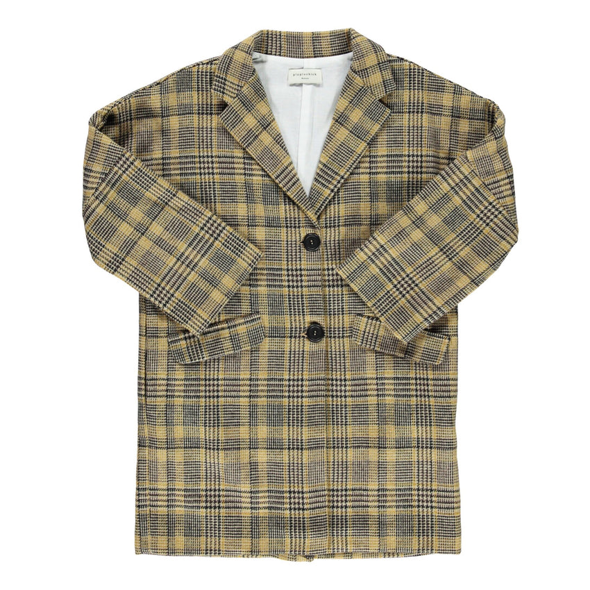 PIUPIUCHICK tweed overcoat light brown plaid - Pulu