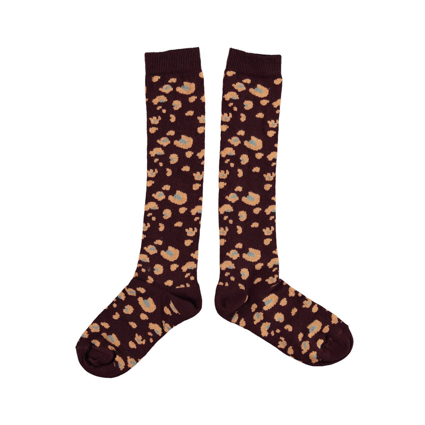 PIUPIUCHICK socks dark violet animal print - Pulu