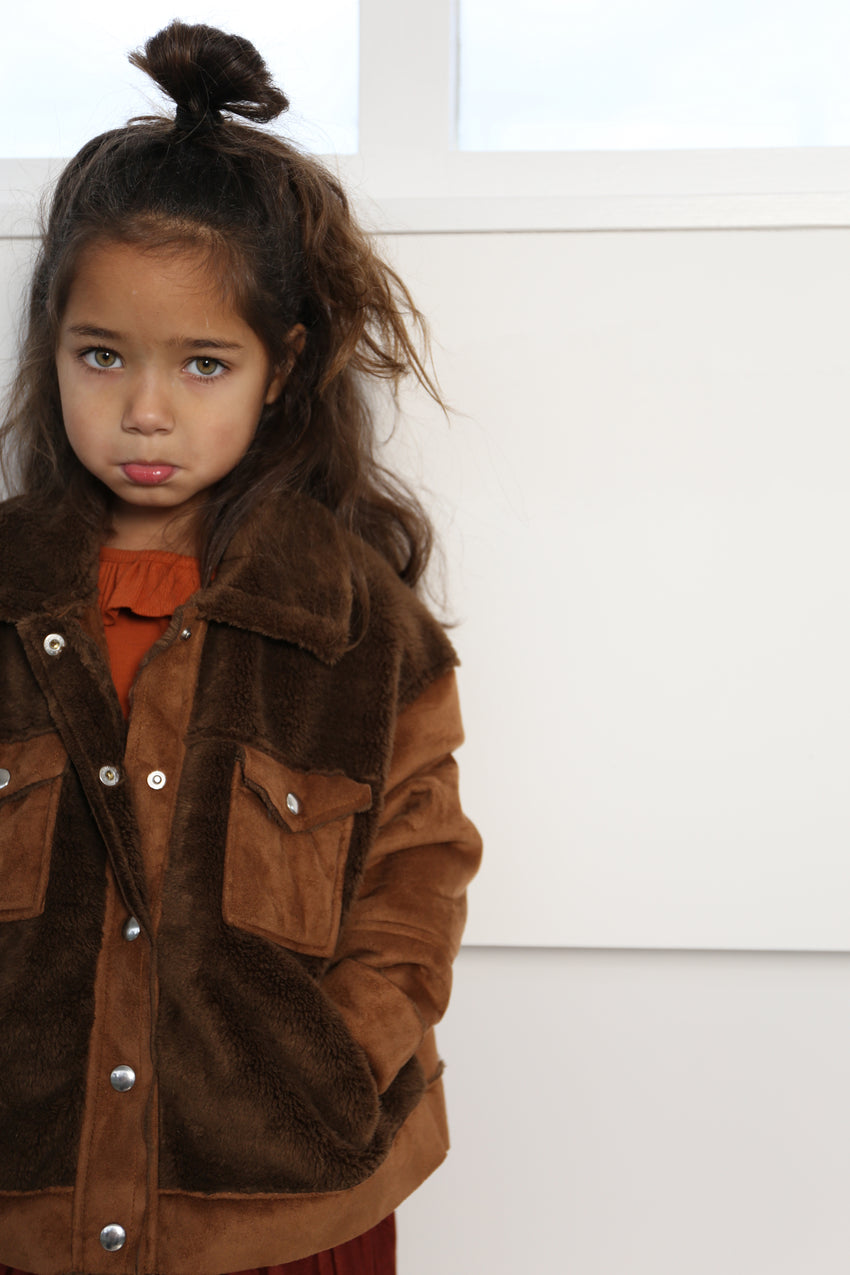 DAILY BRAT neri teddy jacket toasty brown