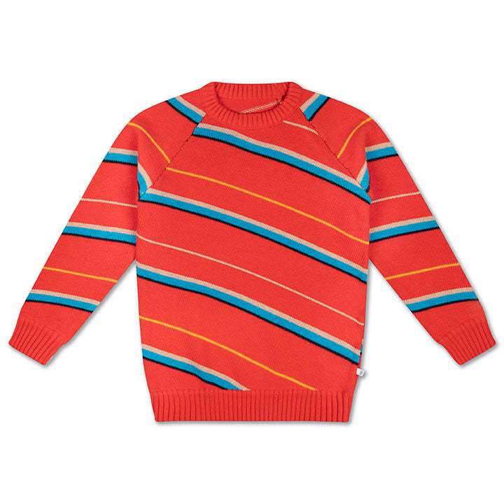 REPOSE AMS knit raglan sweater diagonal stripe