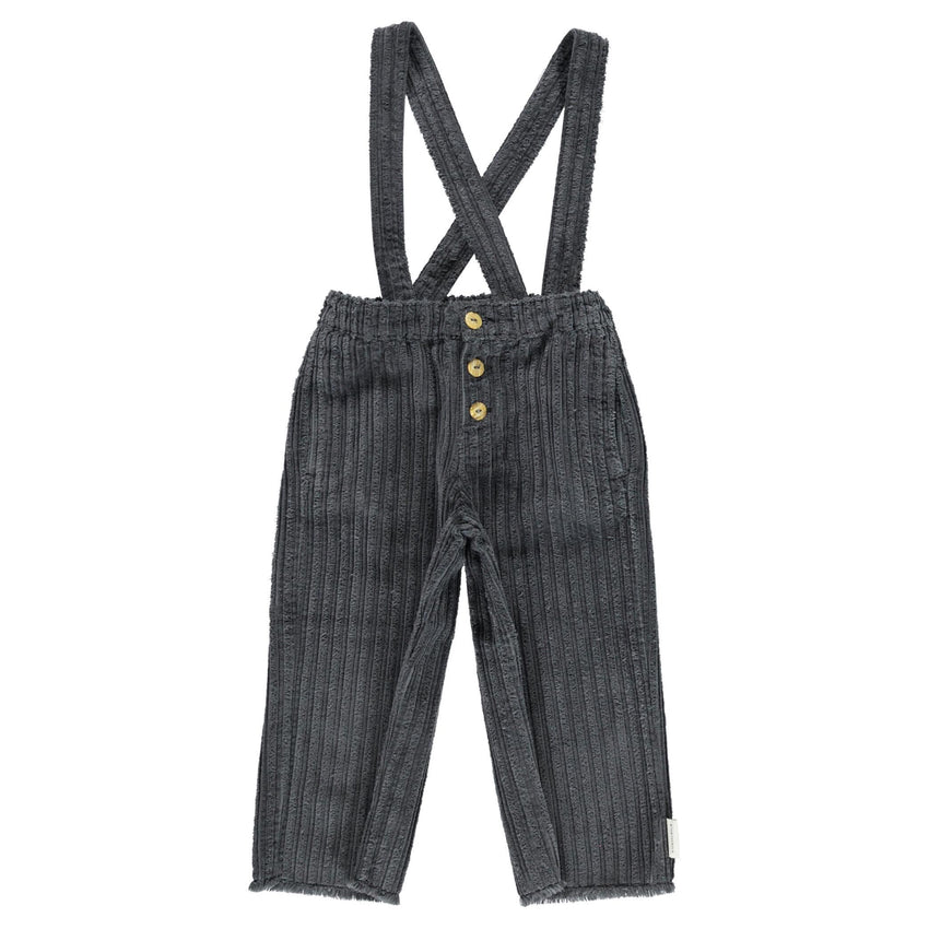 PIUPIUCHICK trousers with straps anthracite corduroy