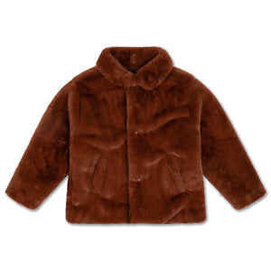 REPOSE AMS boxy collar coat warm chestnut