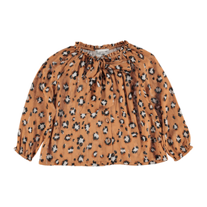 PIUPIUCHICK bow shirt caramel animal print