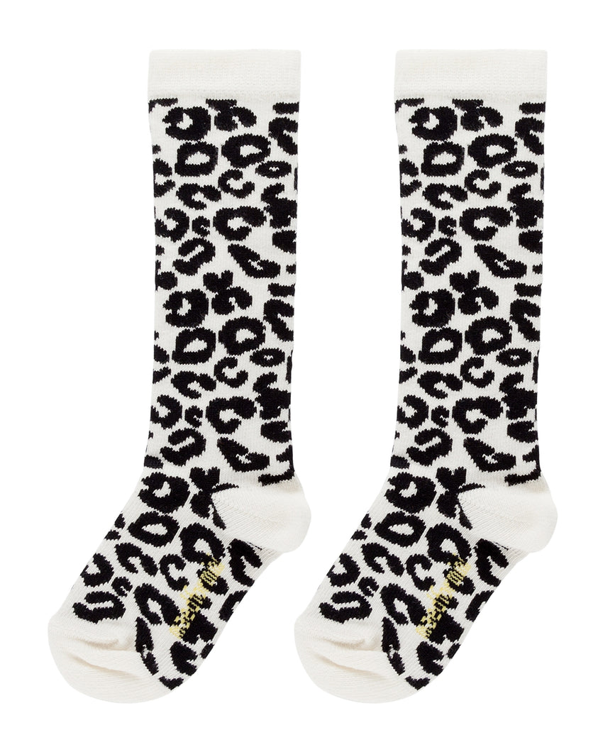 MAED FOR MINI white leopard knee socks - Pulu