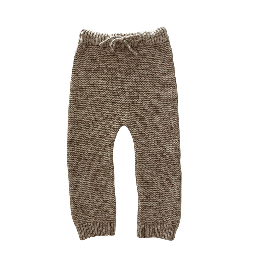 LIILU knit trouser natural/chocolate - Pulu
