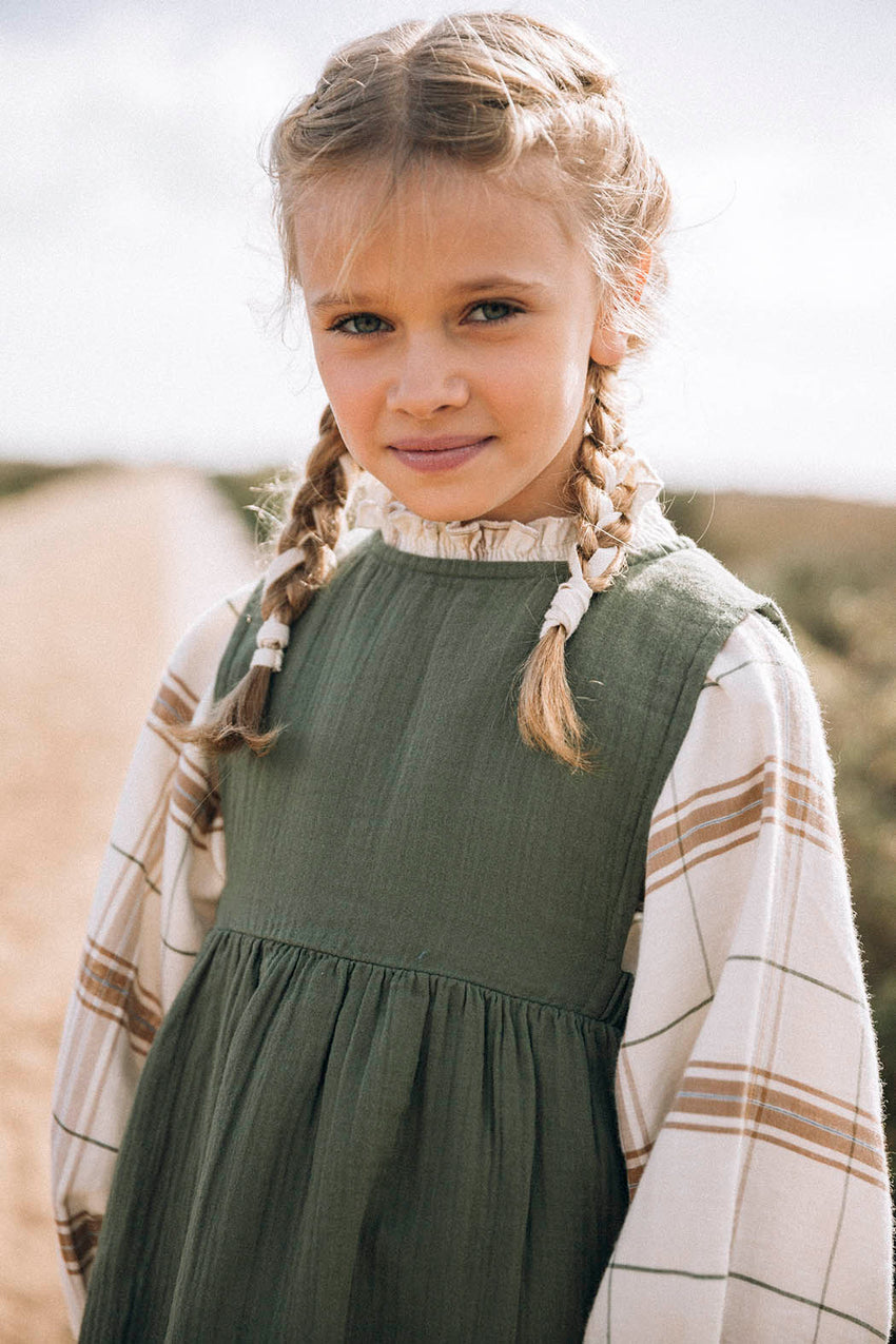 LIILU smocked blouse chenille check