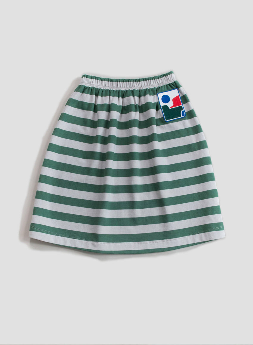 MAIN STORY sweat skirt fog / duck green stripe - Pulu