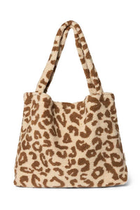 STUDIO NOOS teddy leopard ecru mom-bag