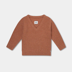 REPOSE AMS knitted v neck sweater rusty apricot - Pulu
