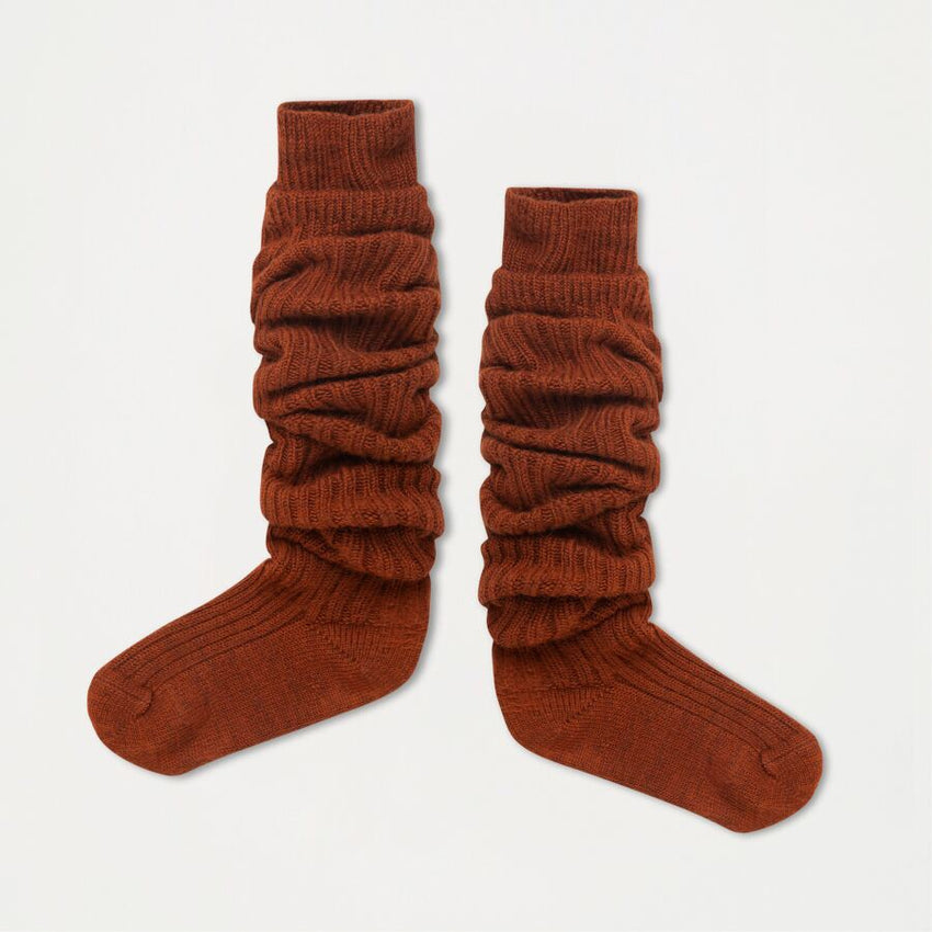 REPOSE AMS woolly high socks hazel brown - Pulu