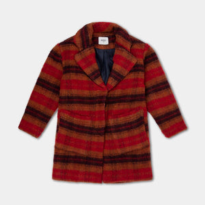 REPOSE AMS overcoat warm red check - Pulu