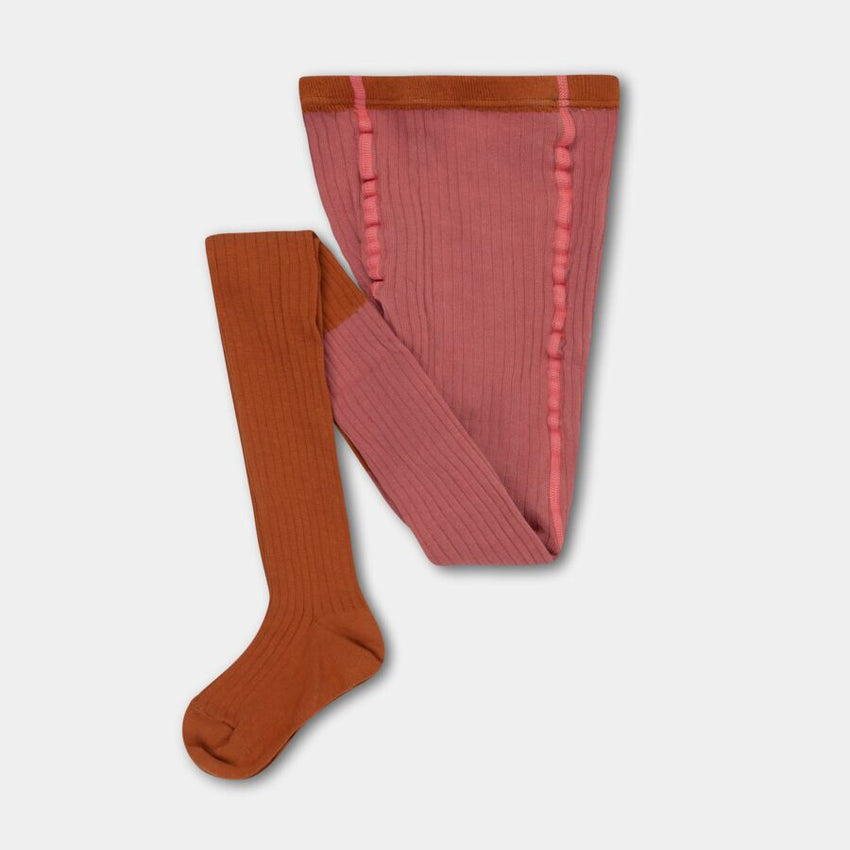 REPOSE AMS tights rose apricot color block - Pulu
