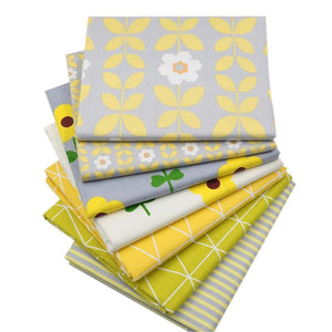 "Fabric Premium- 7 Pieces Yellow Flowers ""Skinny Quarters"""