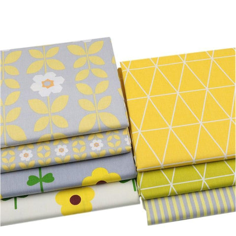 "Image of Fabric Premium- 7 Pieces Yellow Flowers ""Skinny Quarters""-Sewing By Sarah"