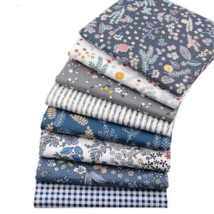Set of 8 Fat Quarters Navy Blue Floral, Gingham, Stripe