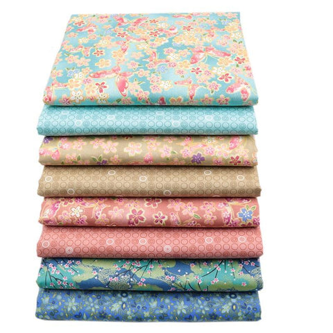 "Fabric Premium- 8 Pieces Corals,Teals,Blues ""Skinny Quarters"""