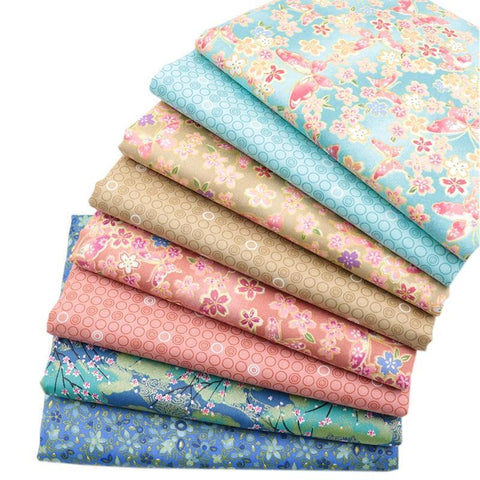 "Fabric Premium- 8 Pieces Corals,Teals,Blues ""Skinny Quarters""-Sewing By Sarah"