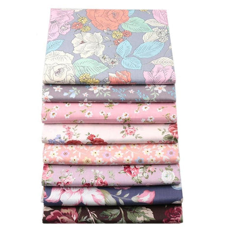 "Image of Fabric Premium- 8 Pieces Pink/Lavendar Florals ""Skinny Quarters"""