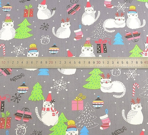 "Image of Christmas Cat Fabric 40"" x 40""-Sewing By Sarah"