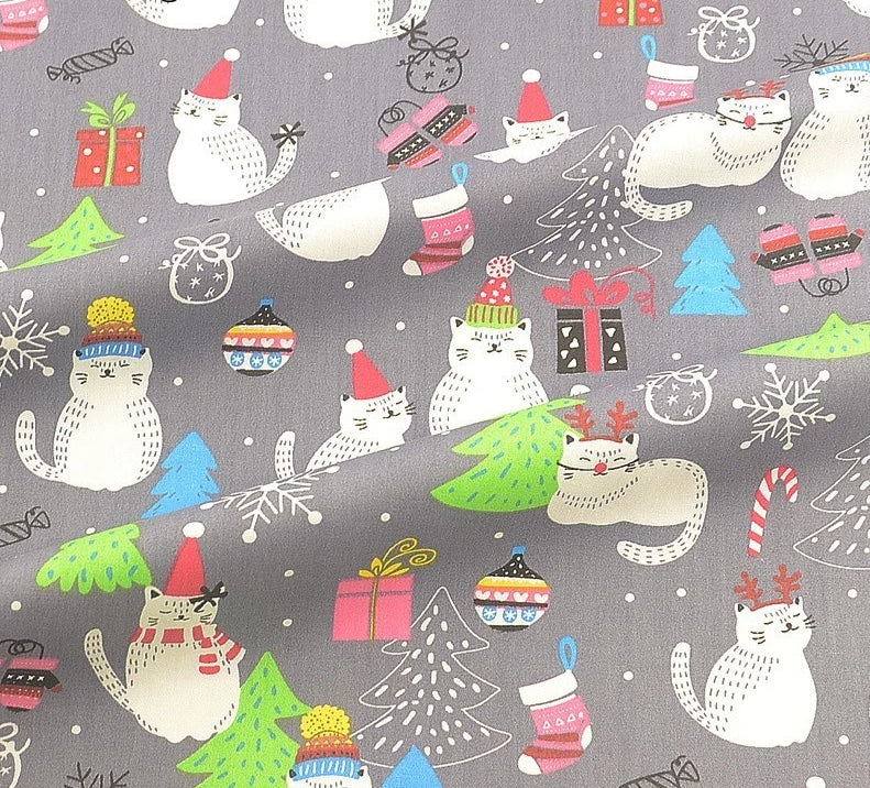 "Christmas Cat Fabric 40"" x 40""-Sewing By Sarah"