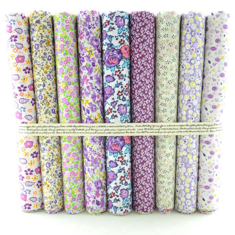 "Fabric Premium- 9 Pieces Purple Florals - 20"" Squares-Sewing By Sarah"
