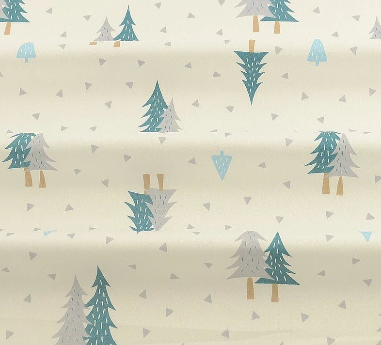 "Silver and Blue Winter Trees 40"" x 40"" Fabric-Sewing By Sarah"