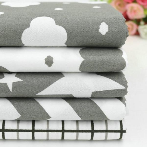 "Fabric Premium- 5 Pieces Grey/White Clouds and Stars ""Skinny Quarters""-Sewing By Sarah"
