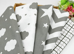 Fabric Premium- 5 Pieces Grey/White Clouds and Stars