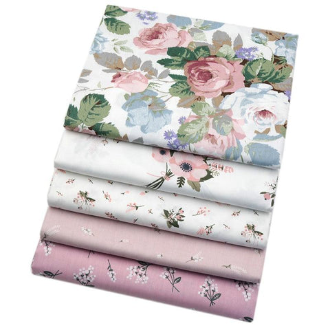 "Fabric Premium- 5 Pieces Pale Pink Floral ""Skinny Quarters""-Sewing By Sarah"