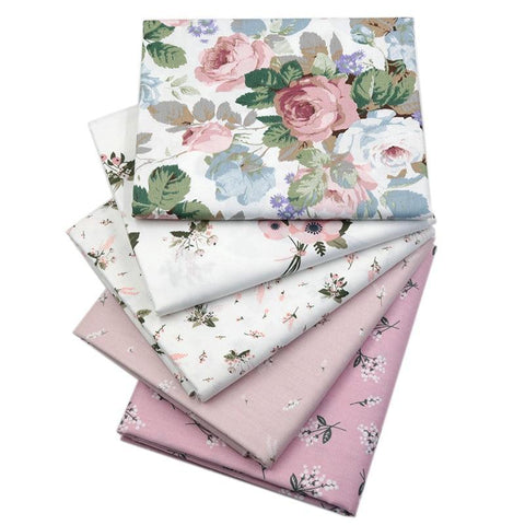 "Fabric Premium- 5 Pieces Pale Pink Floral ""Skinny Quarters"""