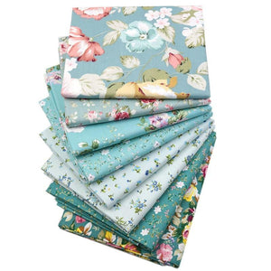 "Fabric Premium- 8 Pieces Teal Floral ""Skinny Quarters"""