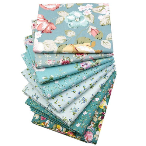 "Fabric Premium- 8 Pieces Teal Floral ""Skinny Quarters""-Sewing By Sarah"