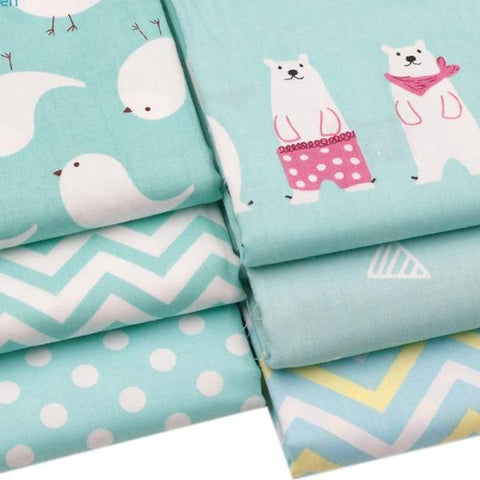"Fabric Premium- 6 Pieces Polar Animal Teal ""Skinny Quarters"""